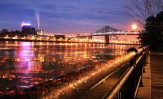 Montreal Jacques Cartier Bridge and River
