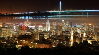 Montreal City and Bridge Photo Montage at Night